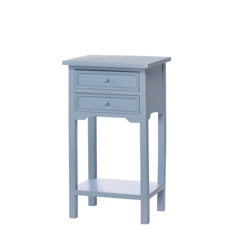 Image 1 of Blue Cape Town Side, Accent End Table Night Stand w/ 2 Drawers and Lower Shelf