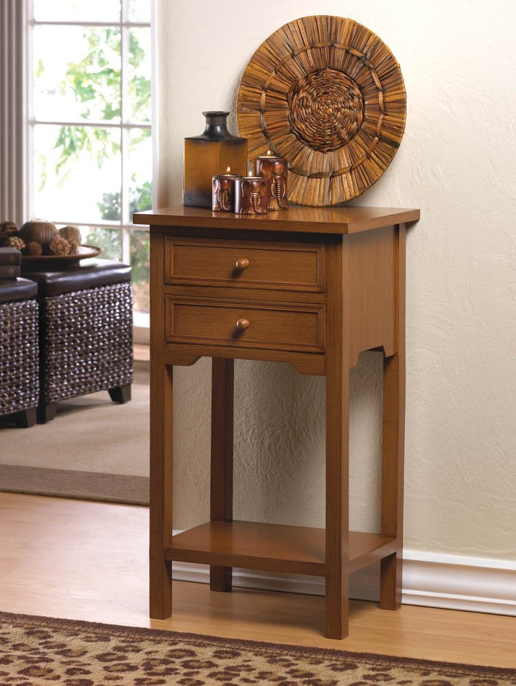 Image 0 of Natural Wood Side, Accent End Table Night Stand w/ 2 Drawers and Lower Shelf