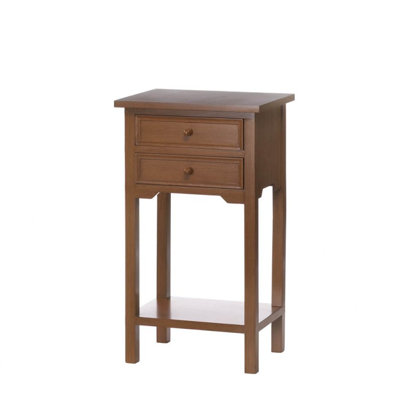 Image 1 of Natural Wood Side, Accent End Table Night Stand w/ 2 Drawers and Lower Shelf