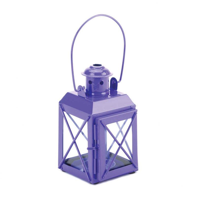 Charming Purple Railroad Style Candle Lantern Lamp