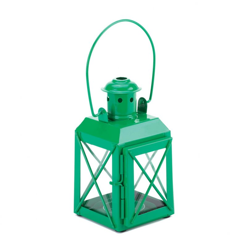 Image 0 of Charming Green Railroad Style Candle Lantern Lamp