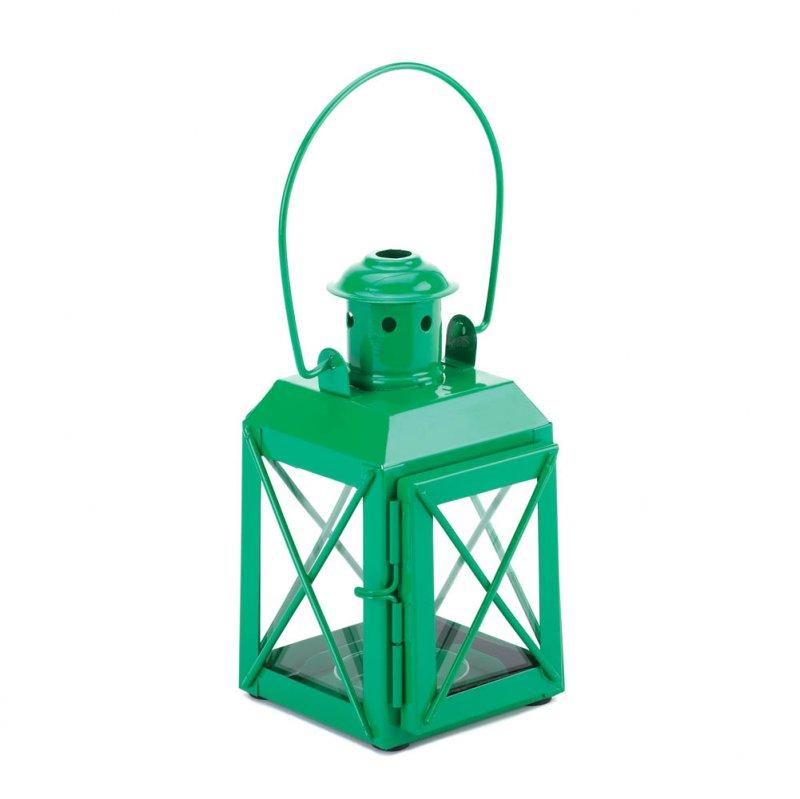 Charming Green Railroad Style Candle Lantern Lamp