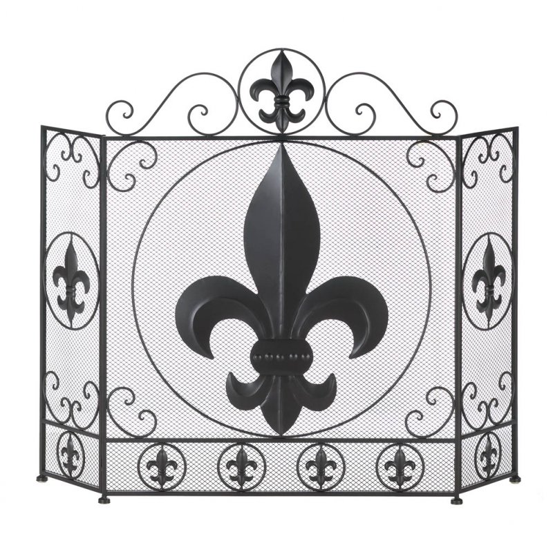 Image 0 of Fleur De Lis Themed Tri-Fold Fireplace Screen with Metal Flourishes