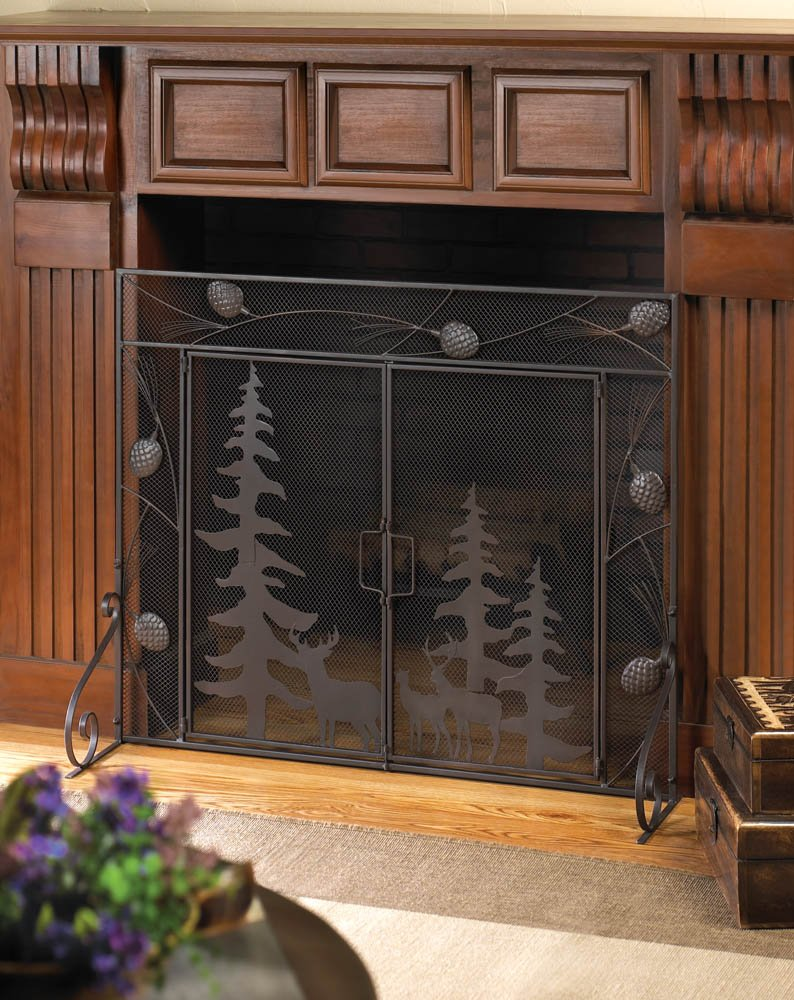 Image 1 of Woodland Wonder Themed Tri-Fold Fireplace Screen with Pine Cone Flourishes