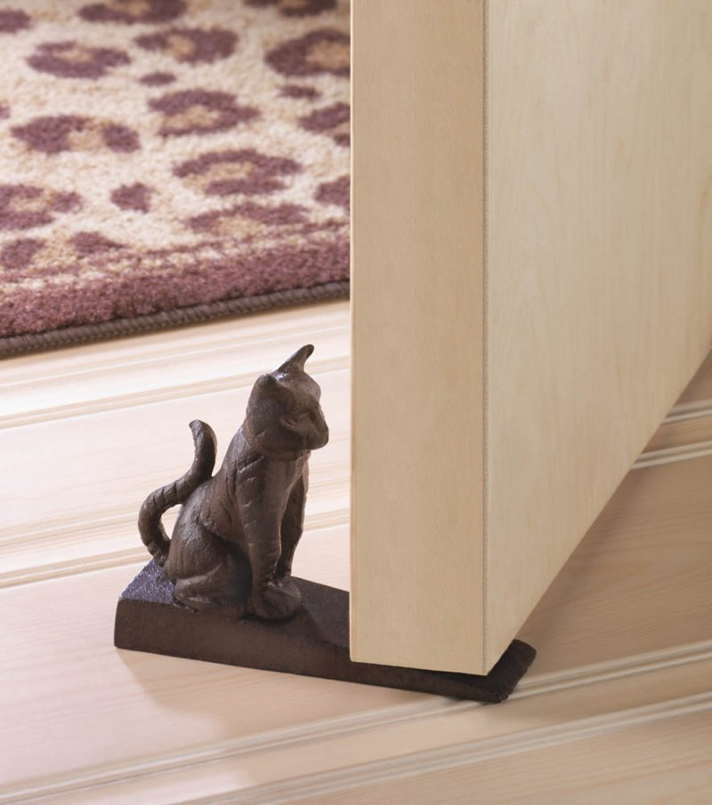 Cute Sitting Kitty Cat Door Stopper Cast Iron