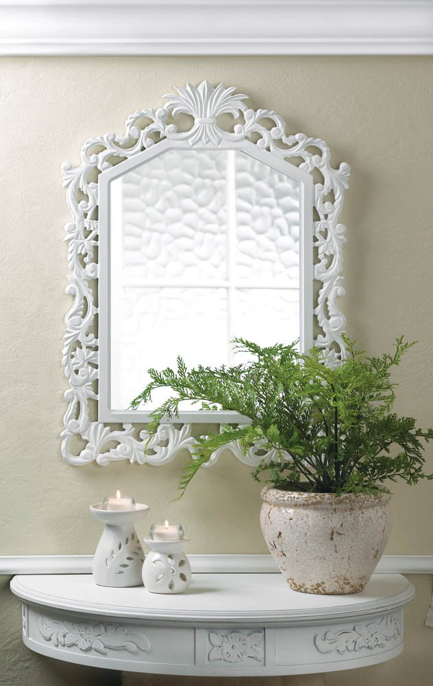 Image 0 of White Wooden Fleur-De-Lis Geometric Arched Wall Mirror