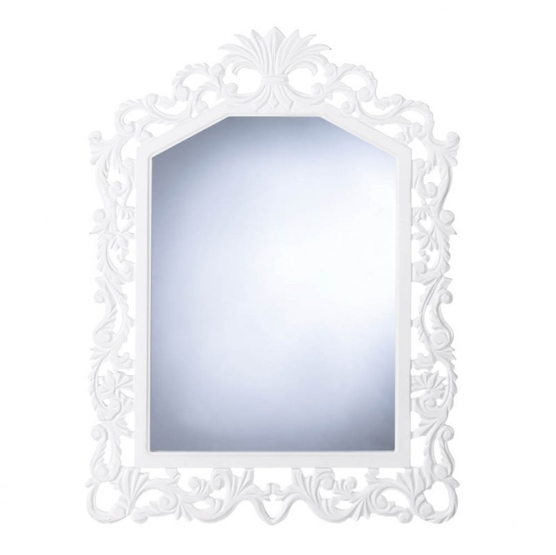 Image 1 of White Wooden Fleur-De-Lis Geometric Arched Wall Mirror