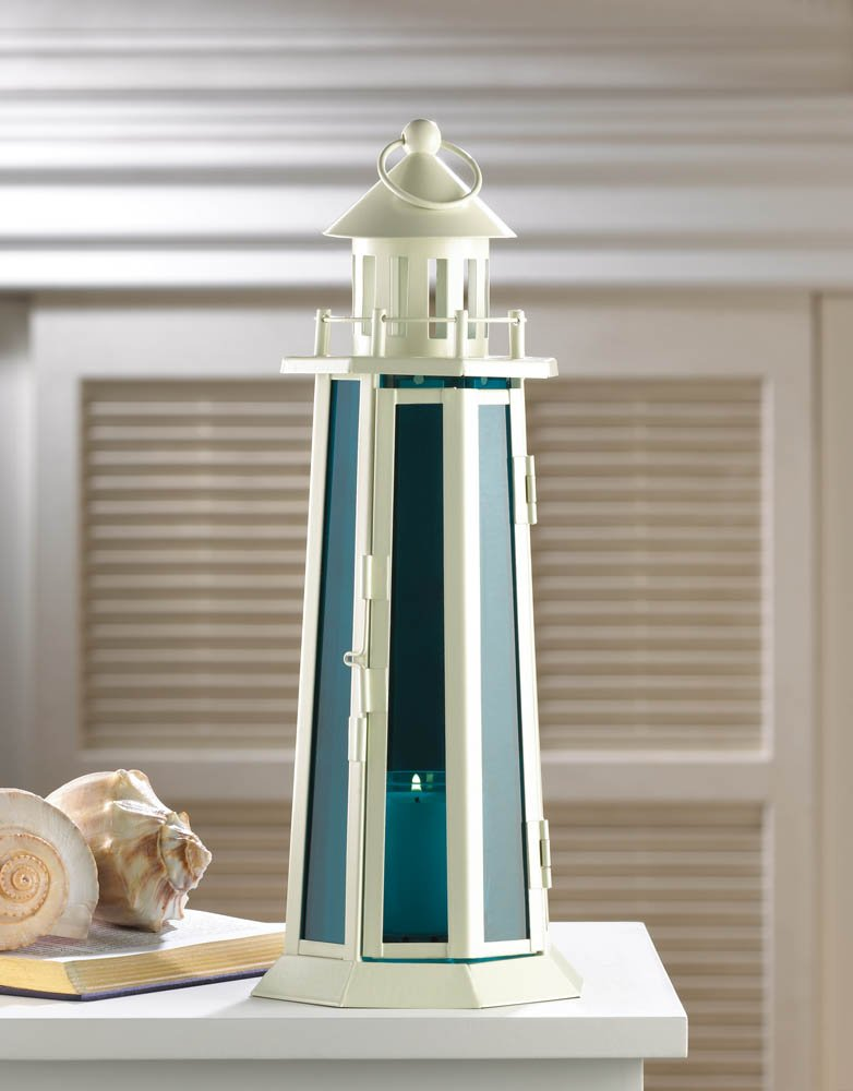 Image 0 of Tall White Lighthouse with Sea Blue Glass Nautical Candle Lantern