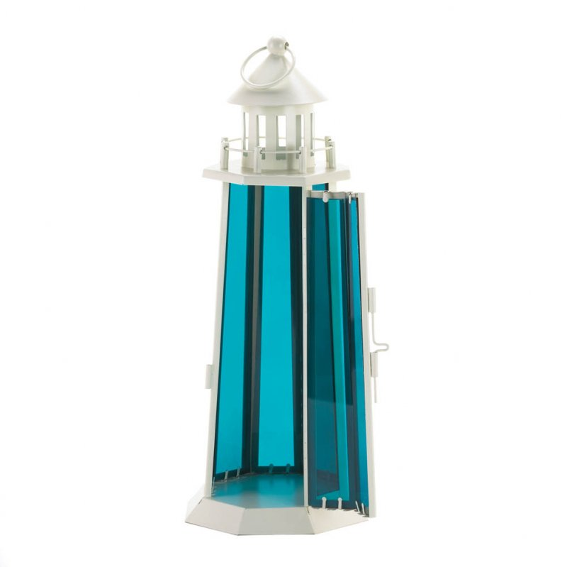 Image 1 of Tall White Lighthouse with Sea Blue Glass Nautical Candle Lantern