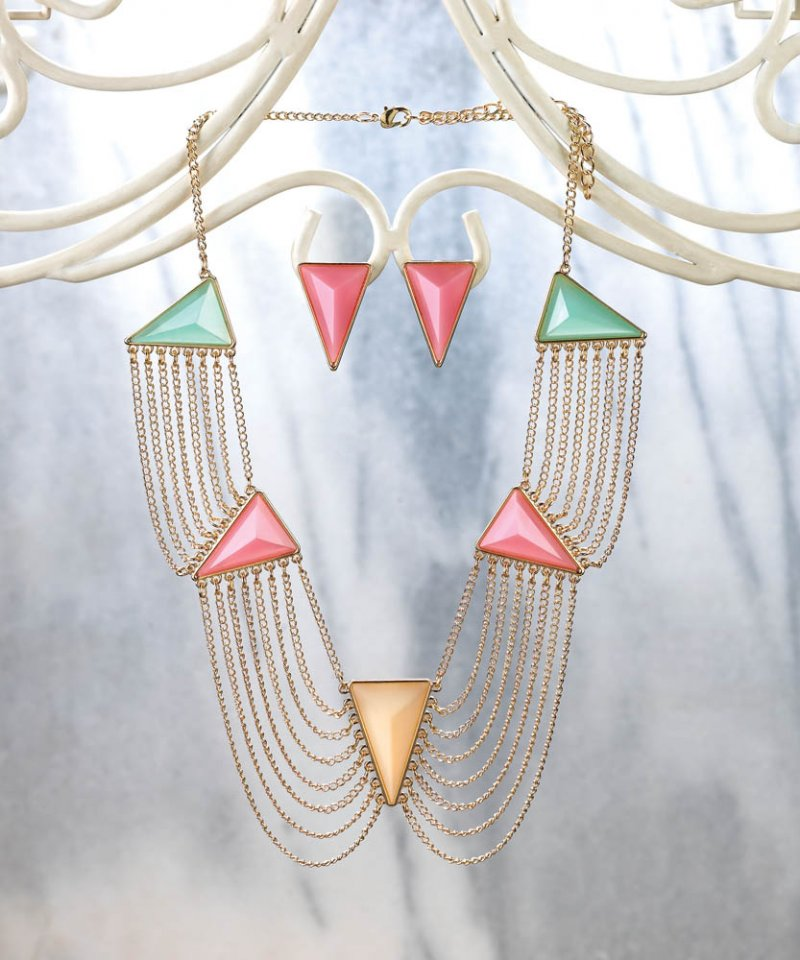 Modern Art Deco Pink, Green, Yellow Triangle Necklace & Earring Jewelry Set