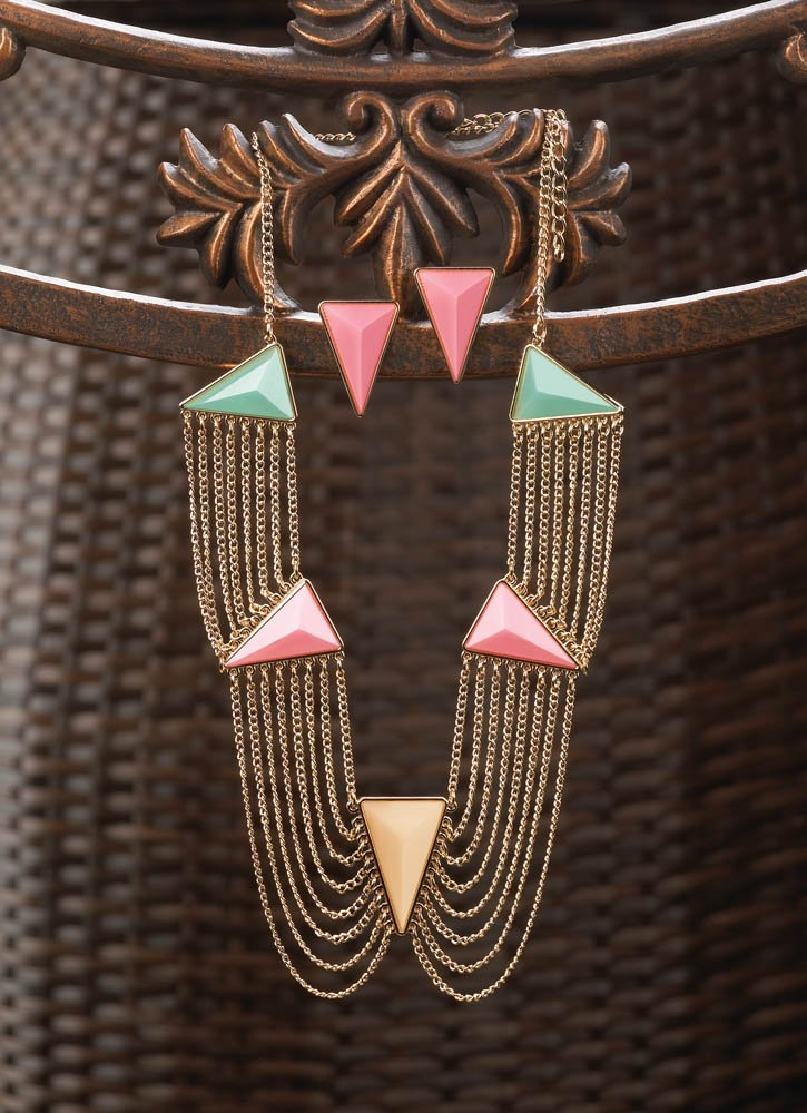 Image 1 of Modern Art Deco Pink, Green, Yellow Triangle Necklace & Earring Jewelry Set