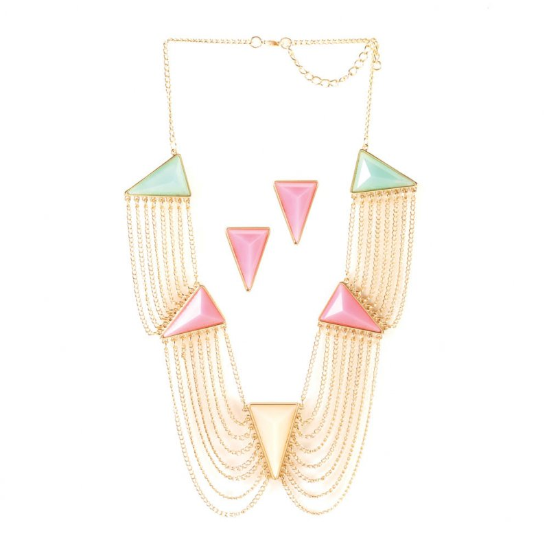 Image 2 of Modern Art Deco Pink, Green, Yellow Triangle Necklace & Earring Jewelry Set