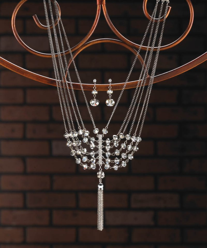 Image 0 of Vintage Style Multi-Layered Necklace & Earrings w/ Glass Crystals & Tassel