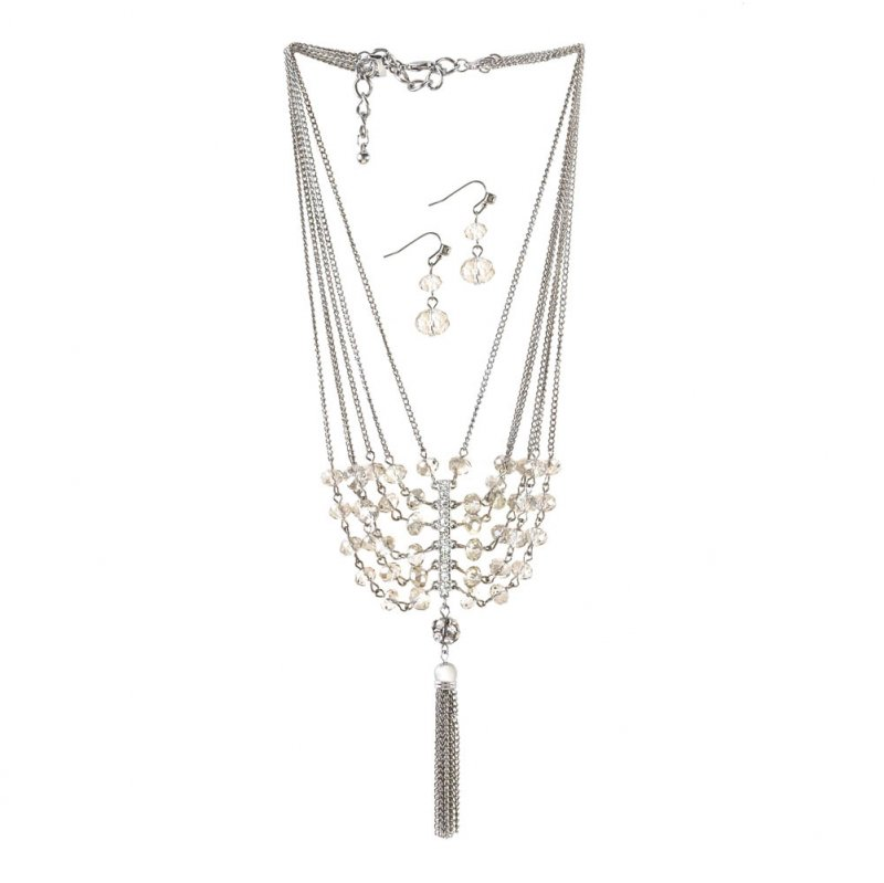 Image 1 of Vintage Style Multi-Layered Necklace & Earrings w/ Glass Crystals & Tassel