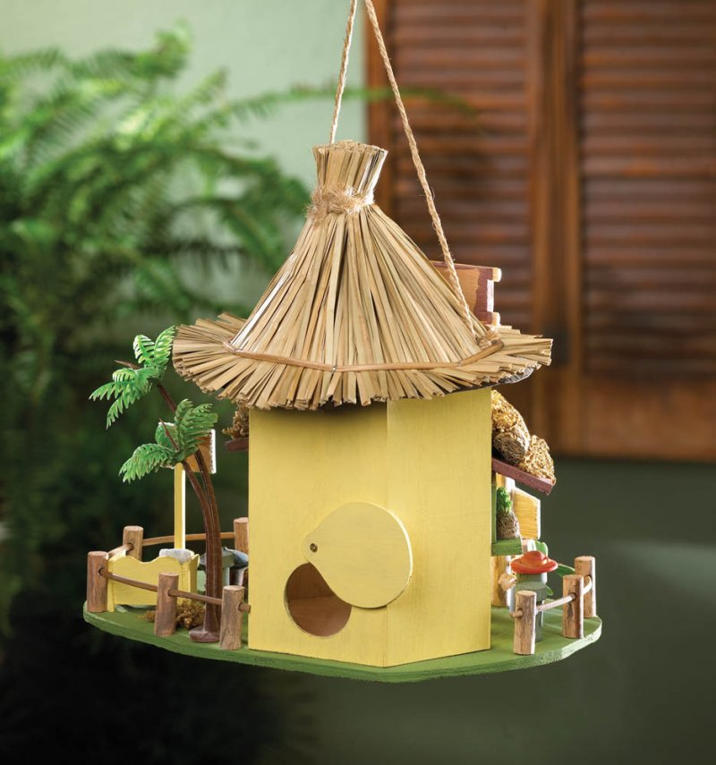 Image 0 of Tropical Tiki Hut Birdhouse w/ Bar Stools, Drink Signs & Plastic Palm Tree