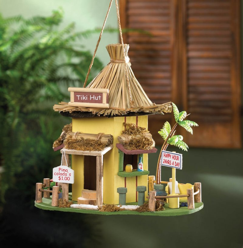 Image 1 of Tropical Tiki Hut Birdhouse w/ Bar Stools, Drink Signs & Plastic Palm Tree