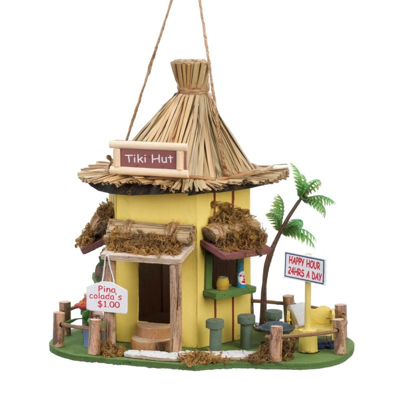 Image 2 of Tropical Tiki Hut Birdhouse w/ Bar Stools, Drink Signs & Plastic Palm Tree