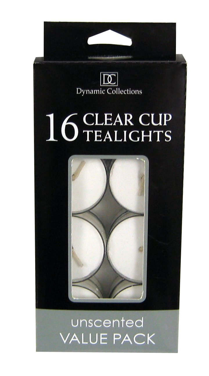 16 White Clear Cup Tealight Candles