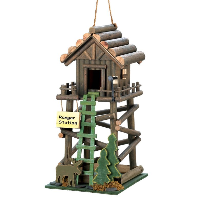 Image 0 of Ranger Station Cabin Birdhouse with Moose, Pine Tree and Ladder