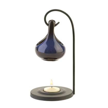 Contemporary Blue Tear Drop Oil Warmer on Metal Stand