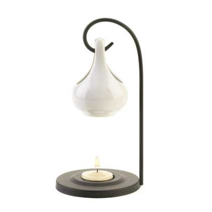 Contemporary White Tear Drop Oil Warmer on Metal Stand