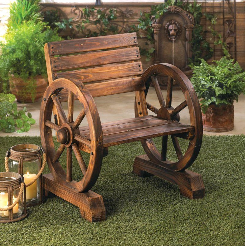 Image 0 of Wagon Wheel Chair for Patio or Porch Country Decor