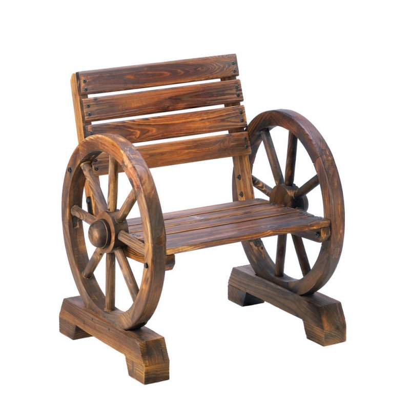 Image 1 of Wagon Wheel Chair for Patio or Porch Country Decor