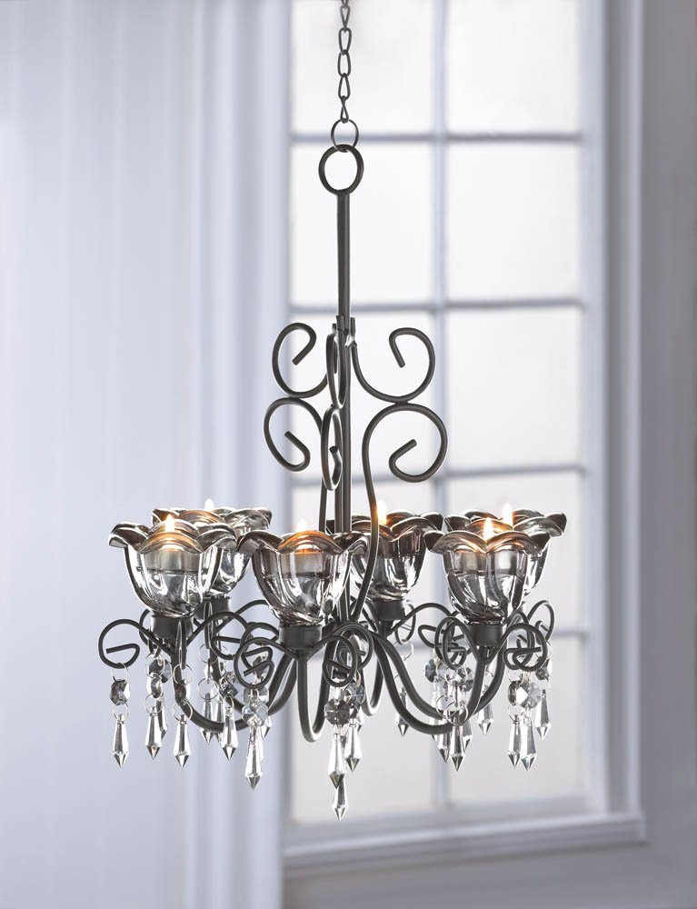 Image 0 of Midnight Blooms Candle Chandelier Black Metal Curls 6 Twilght Kissed Candle Cups