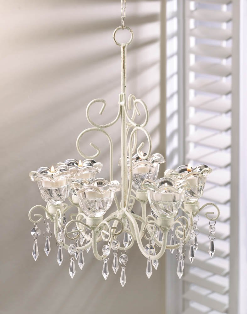Crystal Blooms Distressed Ivory Faceted Jewels Candle Chandelier 6 Candle Cups