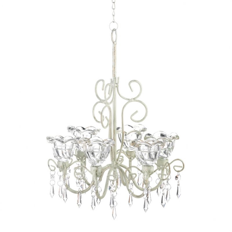 Image 1 of Crystal Blooms Distressed Ivory Faceted Jewels Candle Chandelier 6 Candle Cups