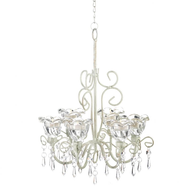 Image 2 of Crystal Blooms Distressed Ivory Faceted Jewels Candle Chandelier 6 Candle Cups