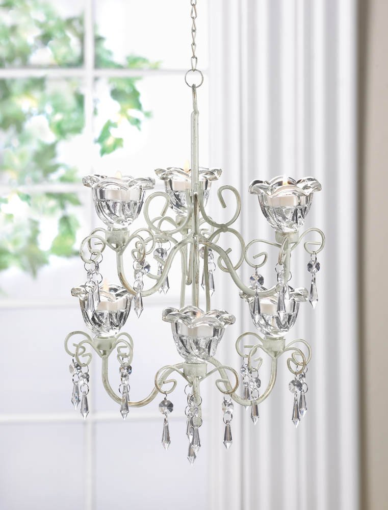 Image 0 of Two Tiered Candle Chandelier Crystal Blooms Distressed Ivory w/ 6 Candle Cups