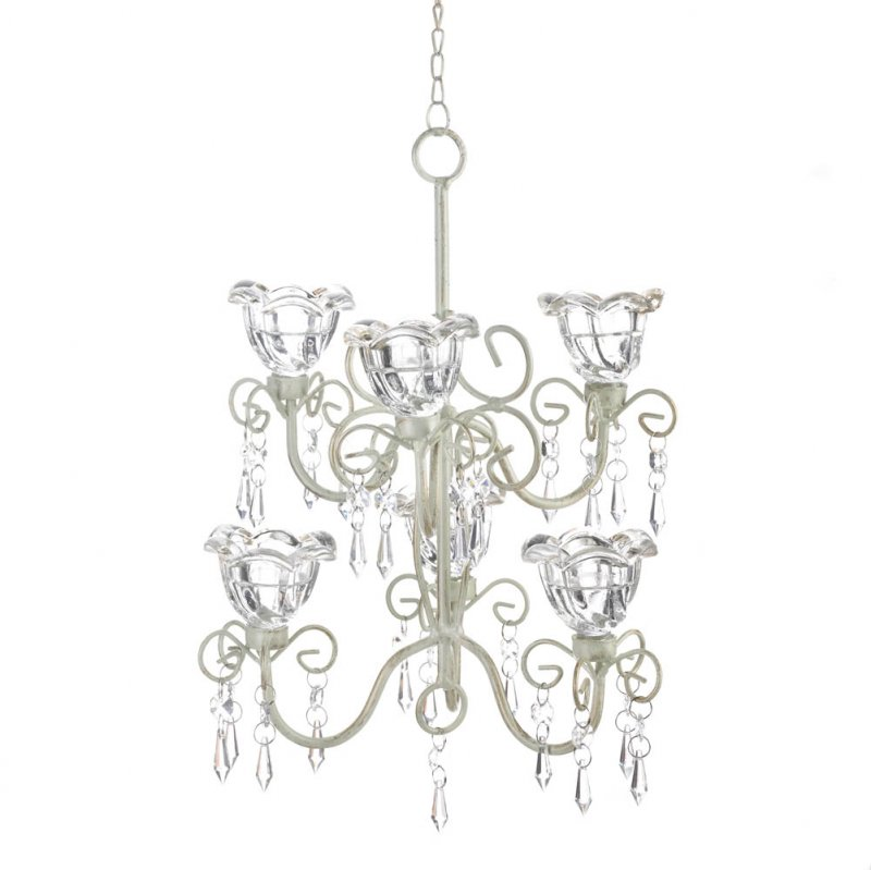 Image 1 of Two Tiered Candle Chandelier Crystal Blooms Distressed Ivory w/ 6 Candle Cups
