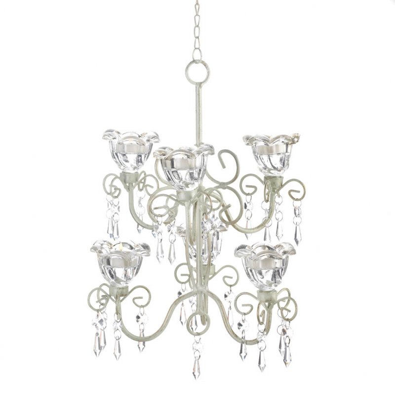 Image 2 of Two Tiered Candle Chandelier Crystal Blooms Distressed Ivory w/ 6 Candle Cups