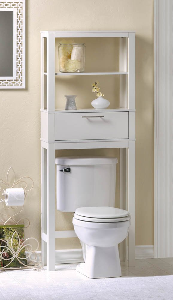 Vogue White Bathroom Spacesaver Two Shelves and Drawer