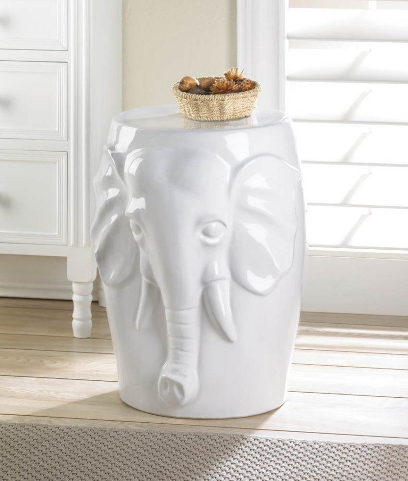 White Elephant Bust Ceramic Stool Table Footstool Plant Stand or Patio Table & White Elephant Bust Ceramic Stool Table Footstool Plant Stand ... islam-shia.org
