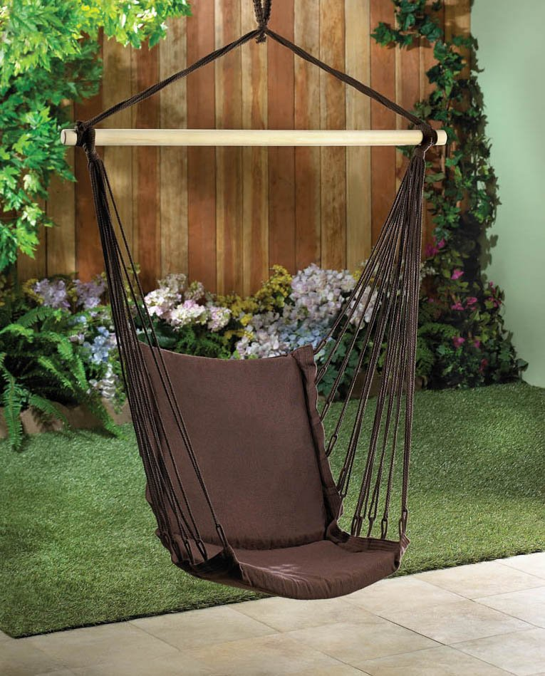 Espresso Brown Cotton Padded Garden, Patio, Porch Swing Chair