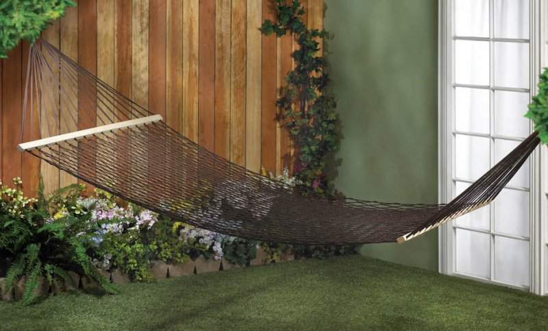 Two Person Espresso Brown Cotton Net Mesh Hammock for Porch, Garden, Patio