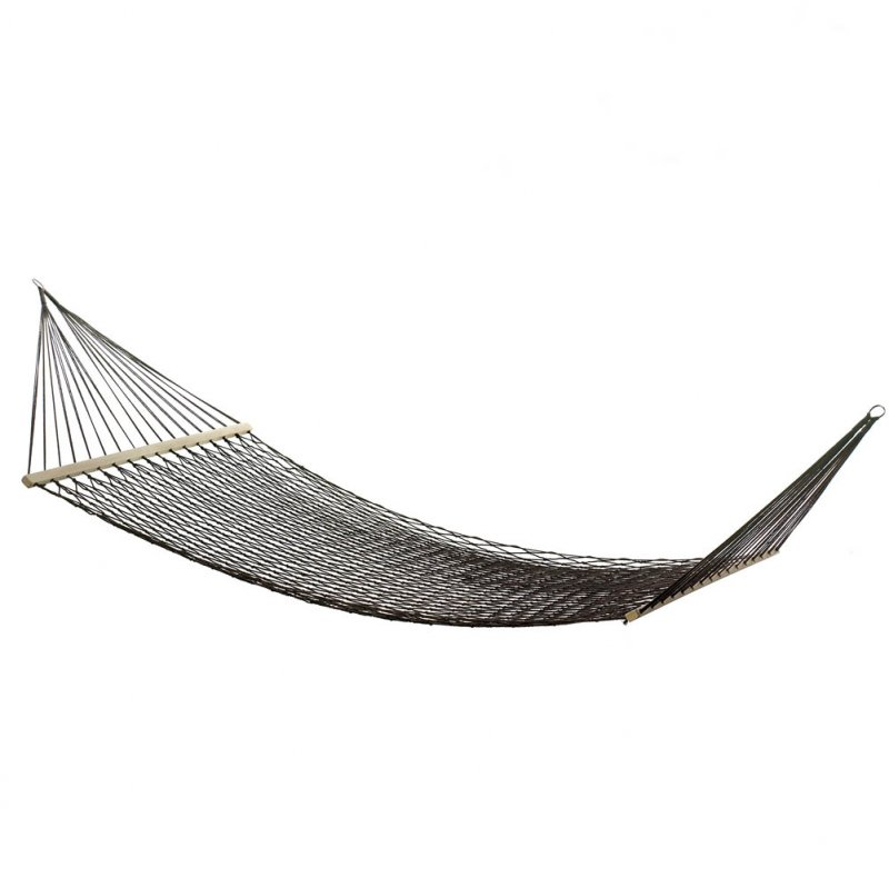Image 1 of Two Person Espresso Brown Cotton Net Mesh Hammock for Porch, Garden, Patio
