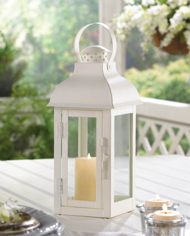 Image 0 of Elegant Soft White Medium Gable Candle Lantern Centerpiece w/ Doom Roof