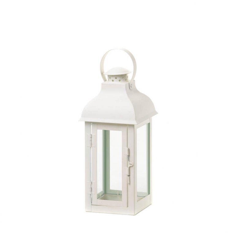 Image 1 of Elegant Soft White Medium Gable Candle Lantern Centerpiece w/ Doom Roof