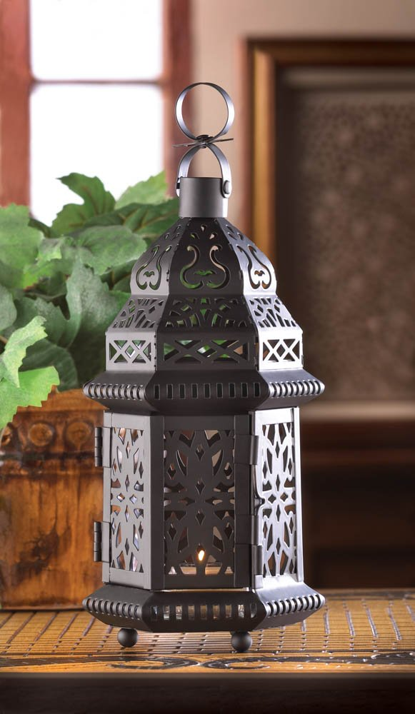 Black Bold Moroccan Style Candle Lantern w/ Intricate Cutout Patterns