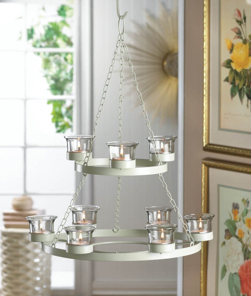 Image 0 of Ivory Tree Shaped Hanging or Tabletop 9 Cup Candle Chandelier w/ Star