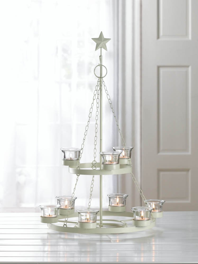 Image 1 of Ivory Tree Shaped Hanging or Tabletop 9 Cup Candle Chandelier w/ Star