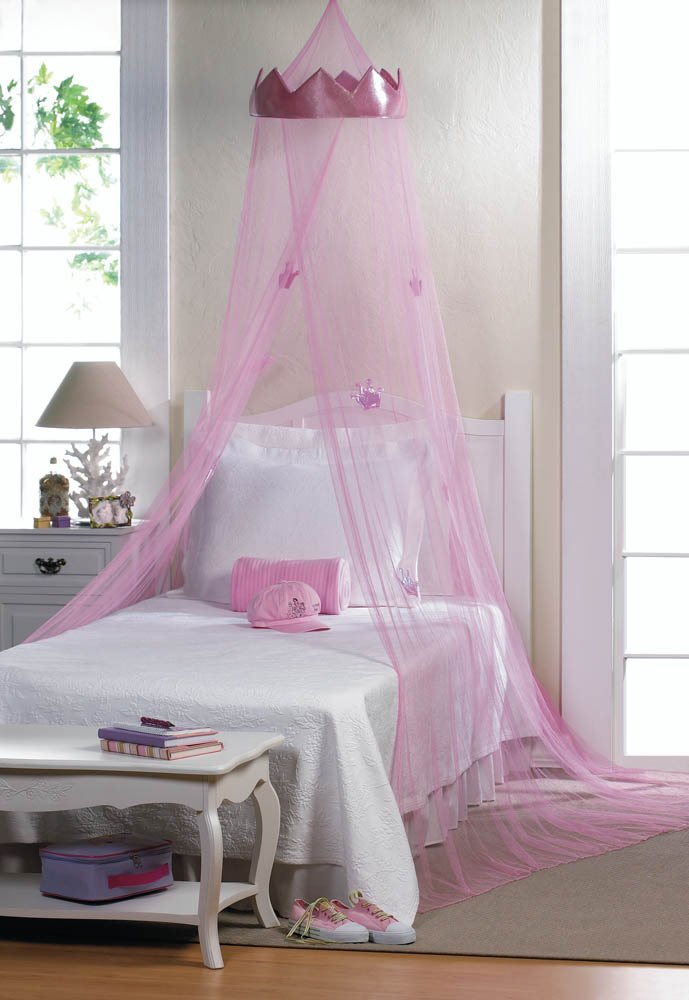 Pink Princess Crown Bed Netting Canopy