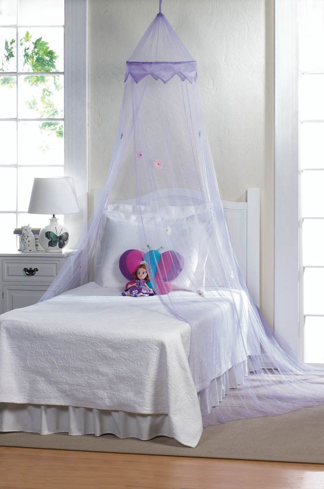 Image 0 of Purple Bed Netting Canopy with Flowers Mounting Hardware Included