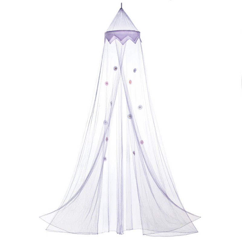 Image 1 of Purple Bed Netting Canopy with Flowers Mounting Hardware Included