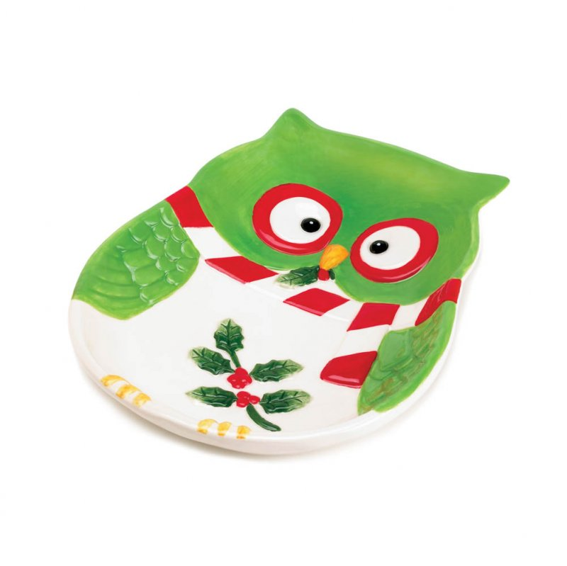Festive Holiday Hoot Owl Small Snack Plate Serving Platter