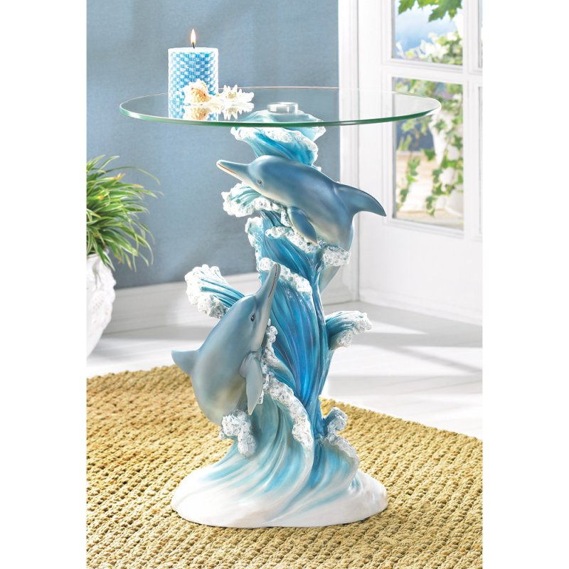 Image 0 of Playful Blue Dolphins Figural Glass Top Accent Side End Table