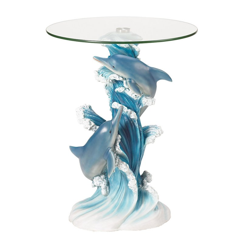 Image 1 of Playful Blue Dolphins Figural Glass Top Accent Side End Table